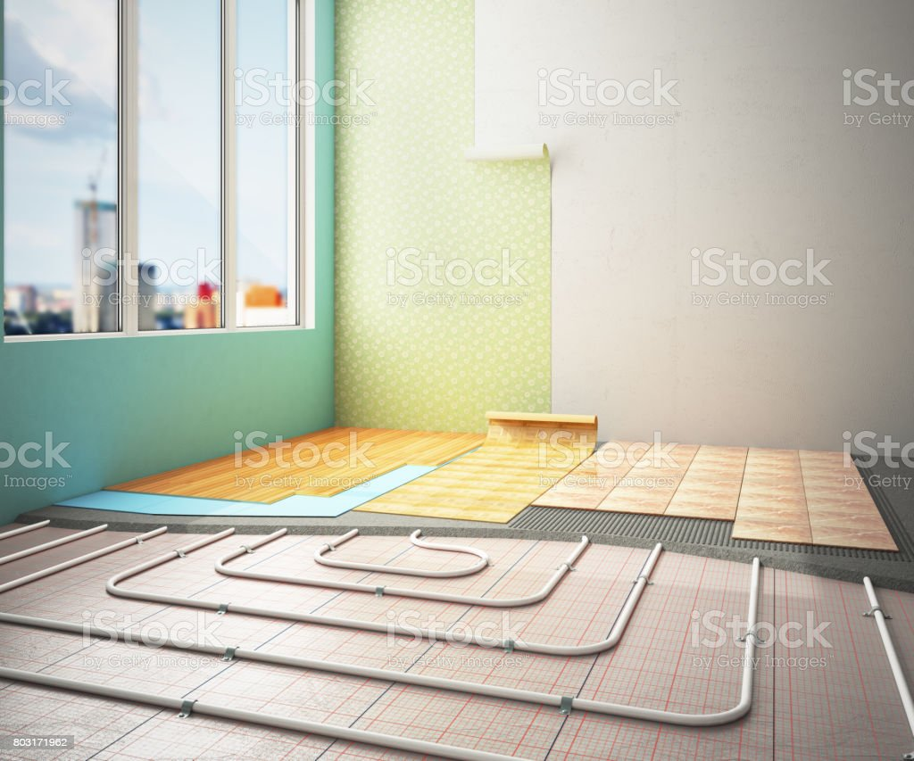 The concept of internal repair work. Room with a warm floor and different types of coverage 3d ernder stock photo