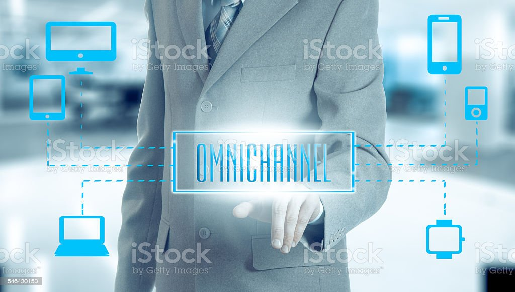 The concept of Omnichannel between devices stock photo