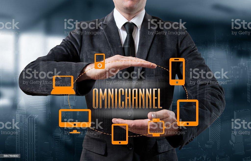 The concept of Omnichannel between devices - Foto de stock de Acontecimiento libre de derechos