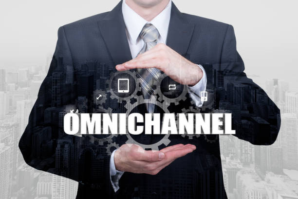 the concept of omnichannel between devices to improve the performance of the company. innovative solutions in business - omnichannel marketing stock photos and pictures