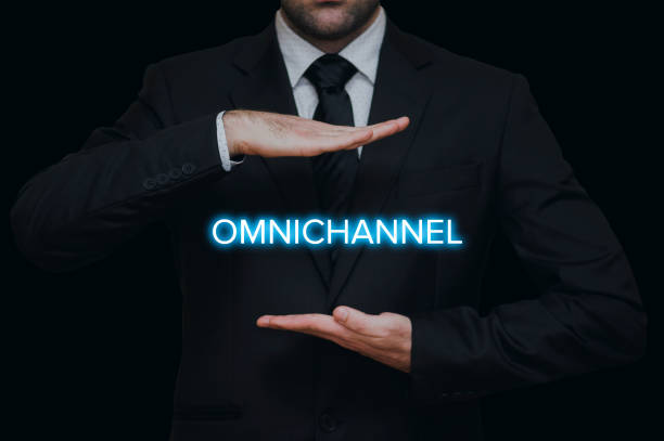 The concept of Omnichannel The concept of Omnichannel with businessman on black background sea channel stock pictures, royalty-free photos & images