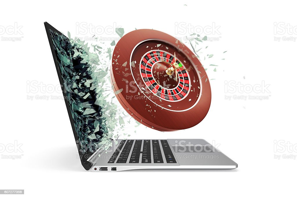 The concept of online casinos, takes off from the laptop stock photo