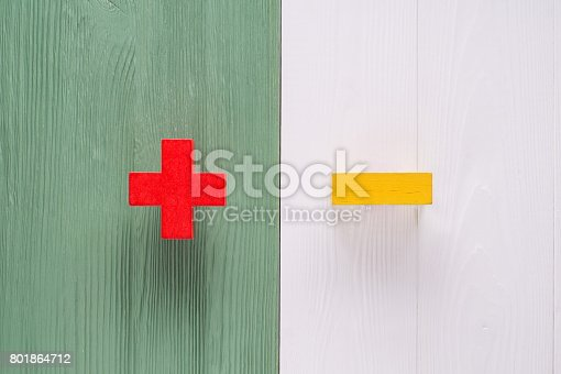 istock The concept of plus or minus 801864712