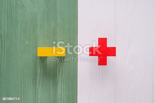 istock The concept of plus or minus 801864714