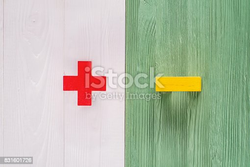 istock The concept of plus or minus 831601726