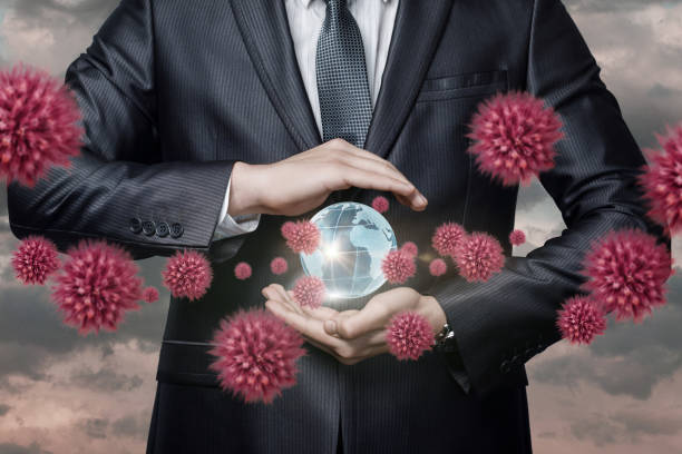 The concept of protecting the world from a pandemic epidemic. stock photo
