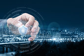 istock The concept of protection of city networks and communications. 1156072209
