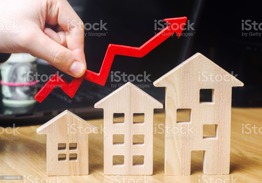 The concept of real estate market growth. The increase in housing...