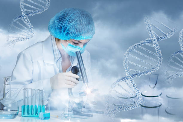 The concept of research and DNA testing . stock photo