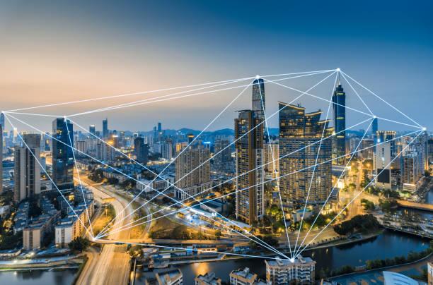 El concepto de datos grandes del paisaje de la ciudad de Shenzhen - foto de stock
