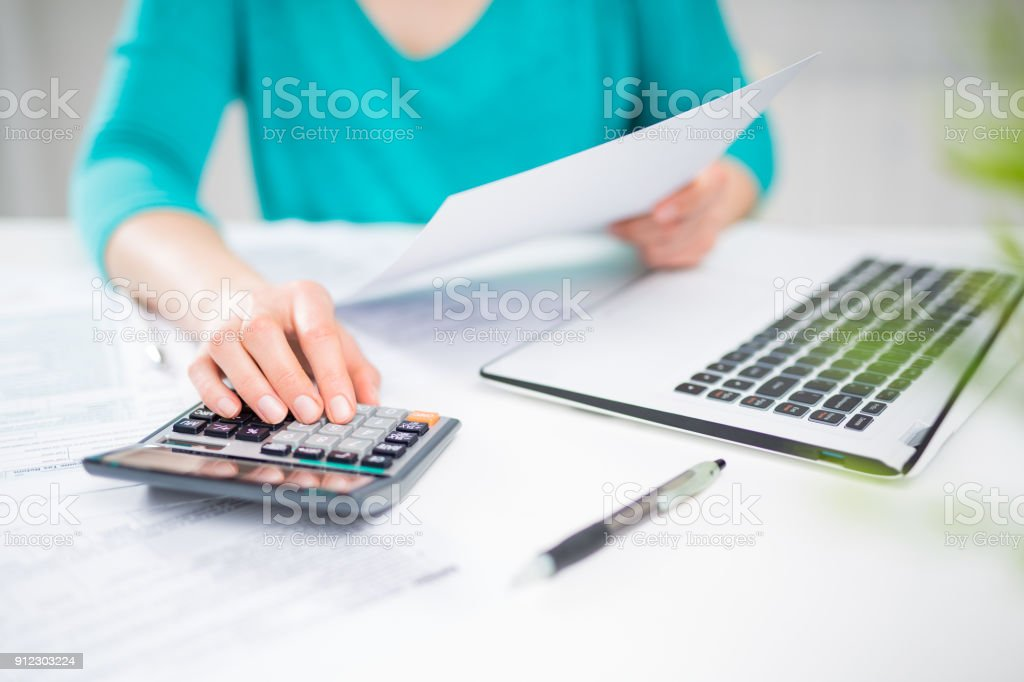 The concept of tax settlement. stock photo