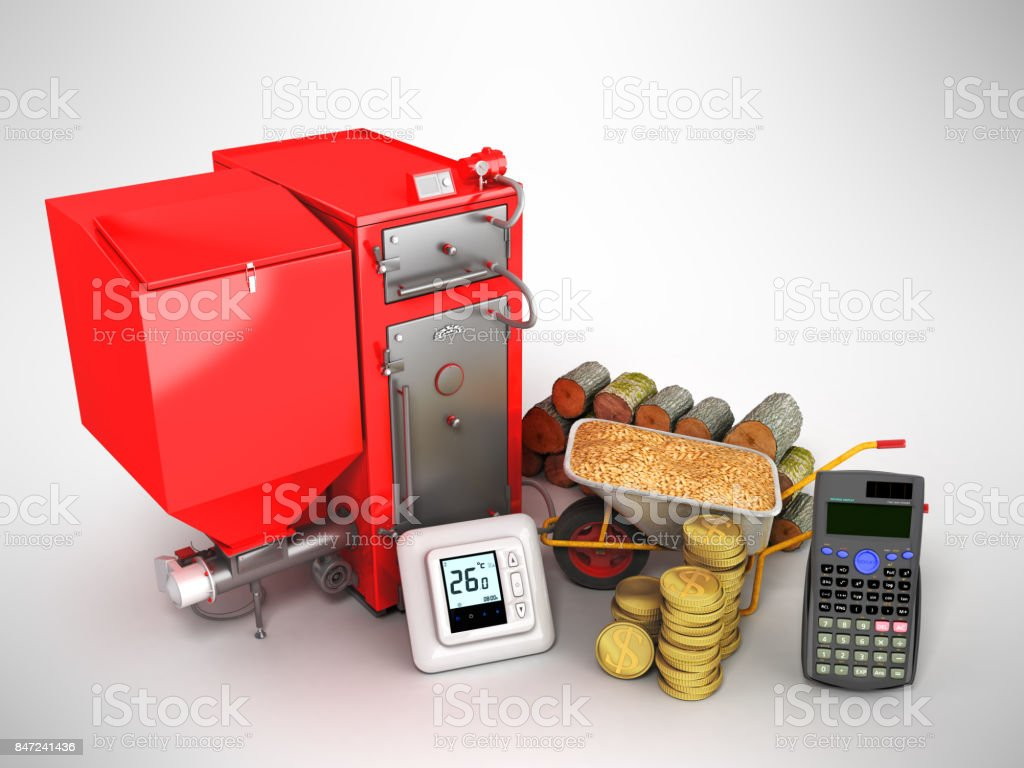 The concept of the heating system of a private house with a solid boiler with wood pellets money firewood production calculator 3d render on white background stock photo