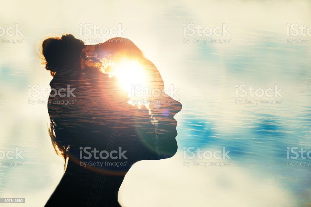 The concept of the power of knowledge. Silhouette of smart girl. stock photo