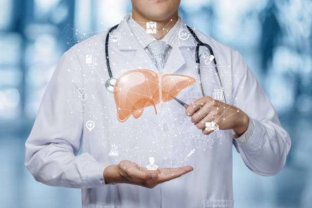 The concept of treatment of the liver. stock photo