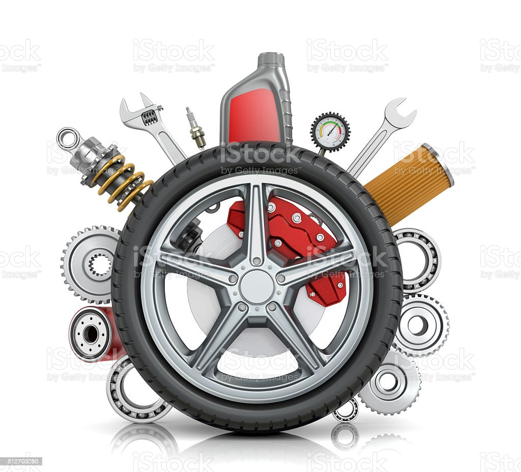 The concept of truck wheels with details stock photo