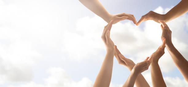 the concept of unity, cooperation, teamwork and charity. - fondazione di beneficienza foto e immagini stock