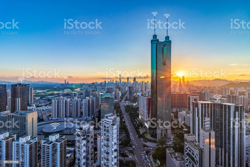 The concept of urban skyline scenery and digital communication in Shenzhen royalty-free stock photo