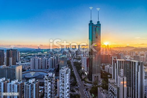istock The concept of urban skyline scenery and digital communication in Shenzhen 965267056