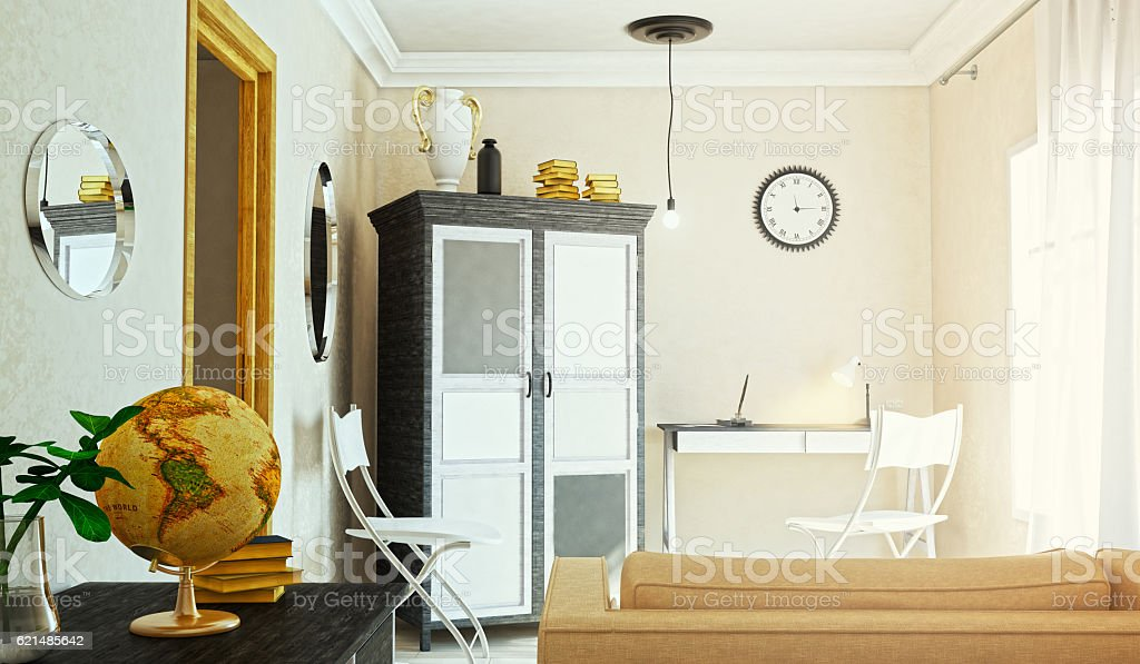 The concept of working room. 3d illustration foto stock royalty-free