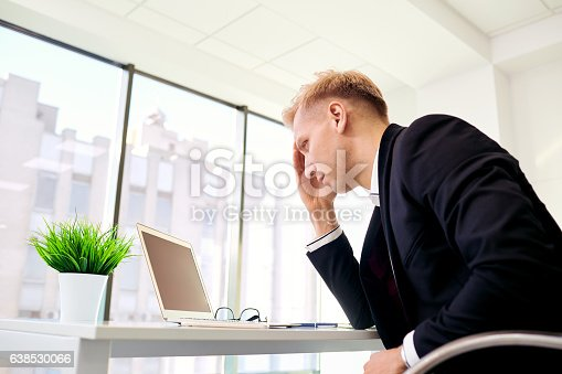 istock The concept stress, problems in business. Blond businesswoman ho 638530066