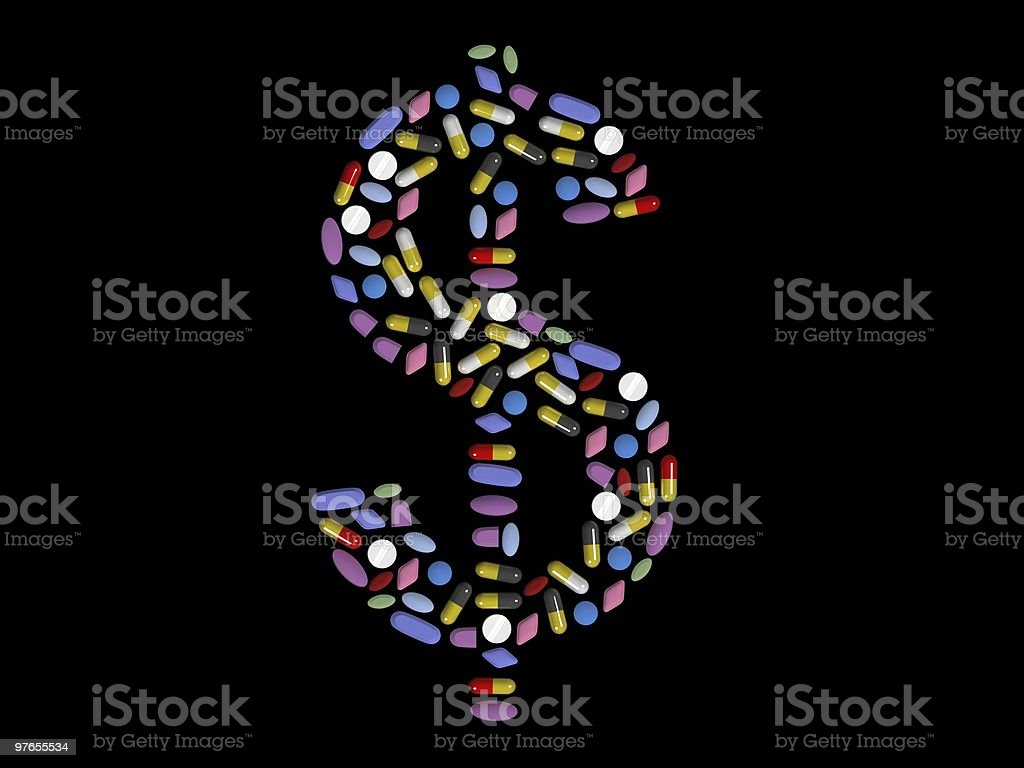 The concept that pills are expensive royalty-free stock photo