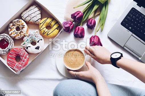 istock The concept with morning coffee in a romantic style 1203415857