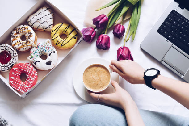 The concept with morning coffee in a romantic style stock photo