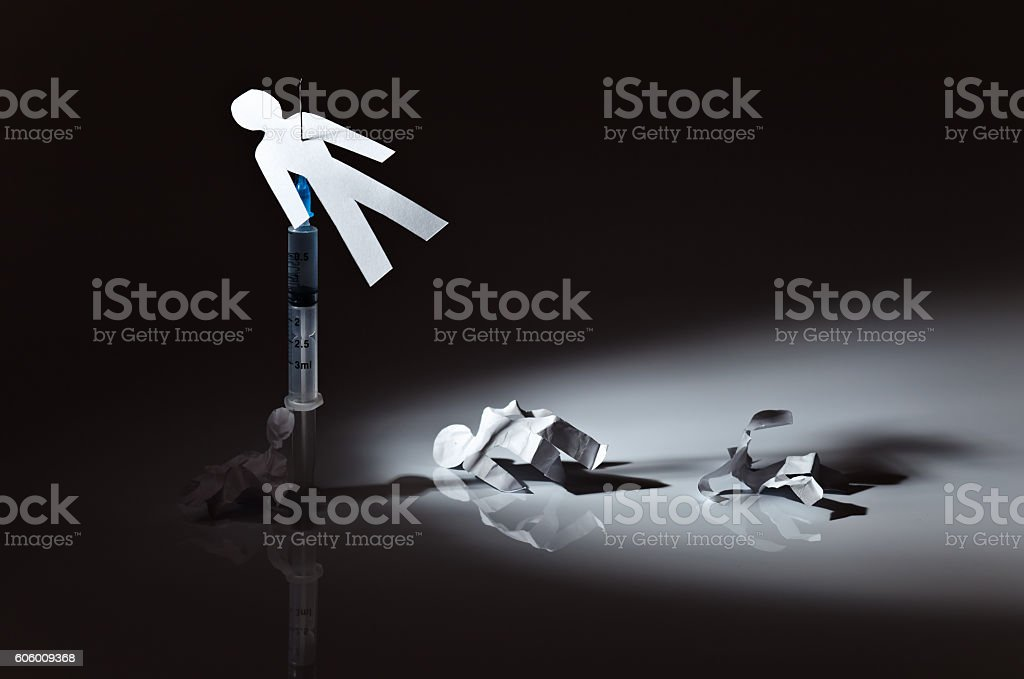 The conceptual image on a theme of narcotic dependence stock photo