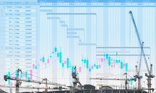 The Conceptual Multi Exposure Image Of Construction Project With Gantt Chart And Stock Price Movement Graph In The Concept Of Construction Project Management Concerning Timeline And Financial Status Stock Photo - Download Image Now