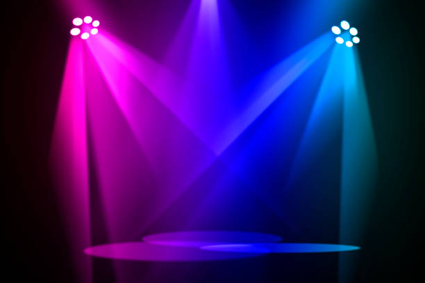 the concert on stage background with flood lights - turno sportivo foto e immagini stock