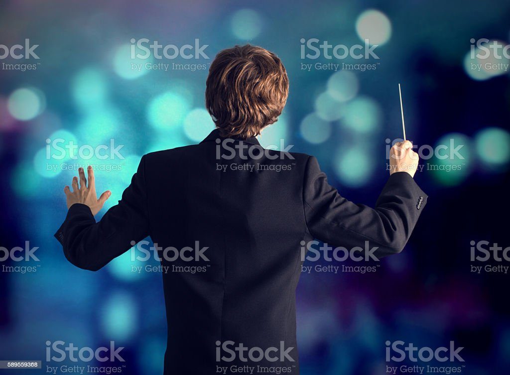 The conductor of the orchestra. stock photo