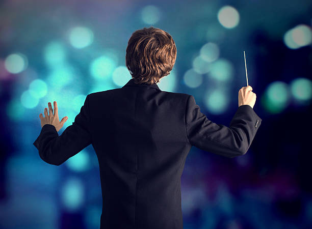 The conductor of the orchestra. - foto de stock
