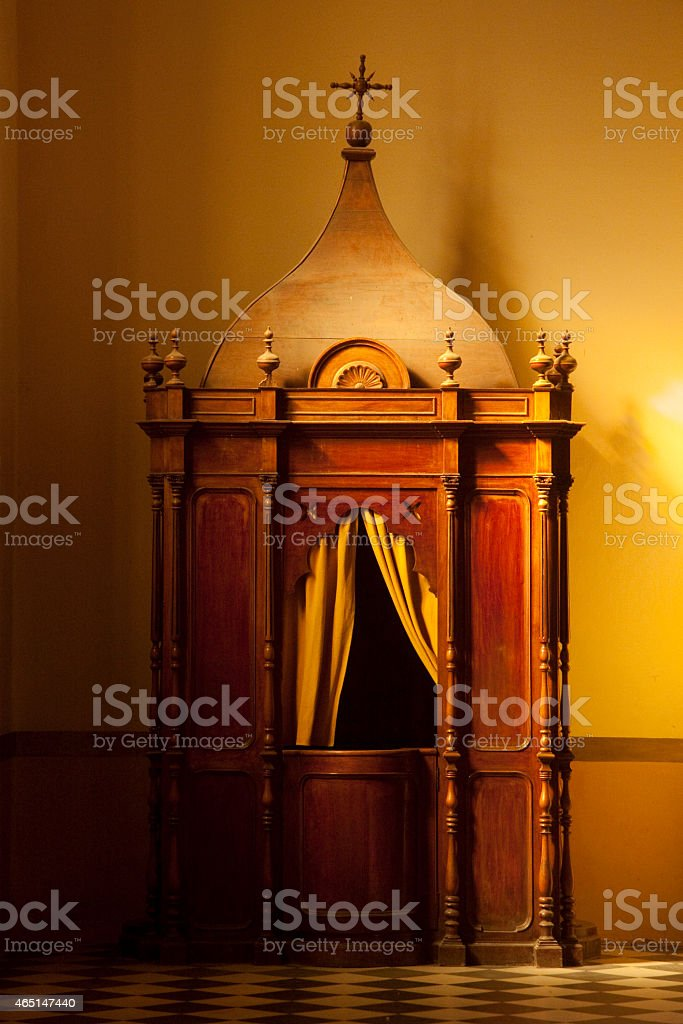 The Confession is waiting you stock photo