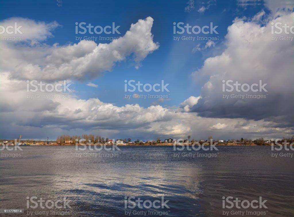 The confluence of river Izhora into river Neva. stock photo