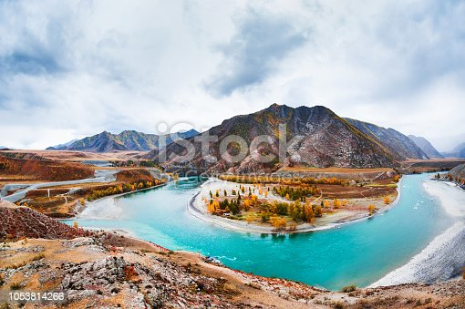 istock The confluence of the Chuya and Katun rivers in Altai, Siberia, Russia. 1053814266