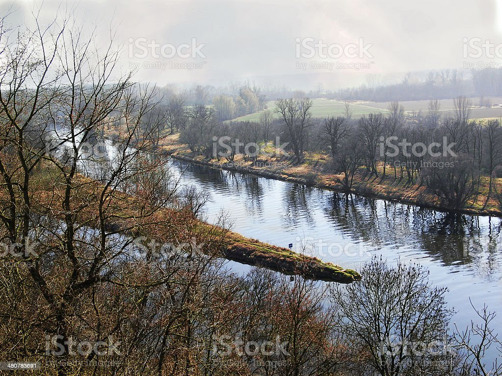 the confluence of two rivers royalty-free stock photo
