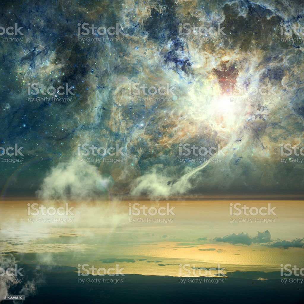 The connection between heaven and Earth. stock photo