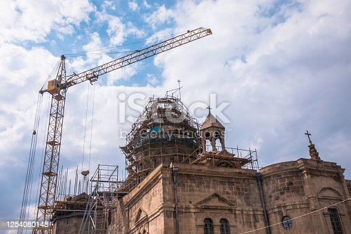construction church under the blue sky