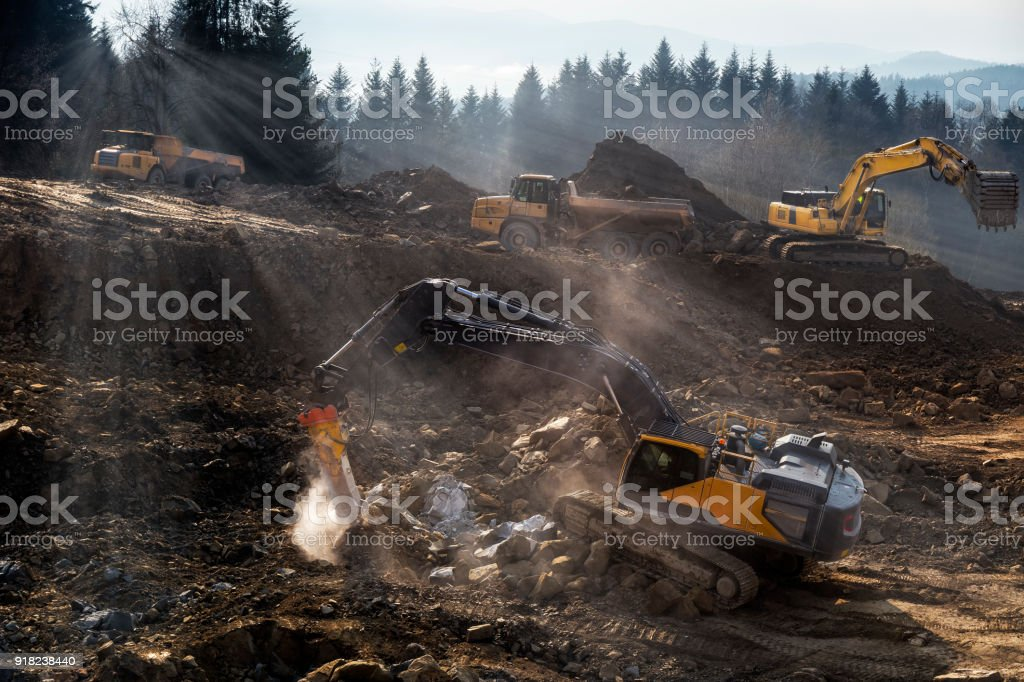The construction machinery  prepare the ground for the construction of highway S7, Naprawa, Poland stock photo