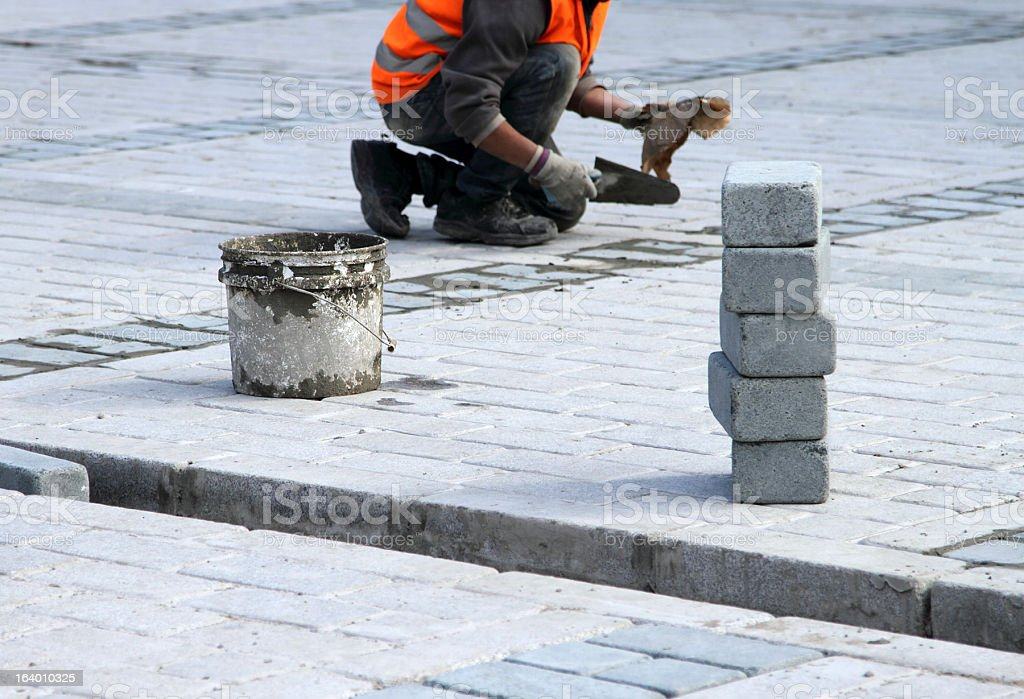 The Construction of Paving Stones stock photo