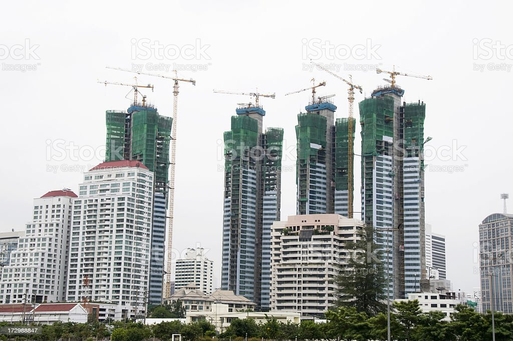 The Construction Of Skyscrapers In Bangkok, Thailand royalty-free stock photo
