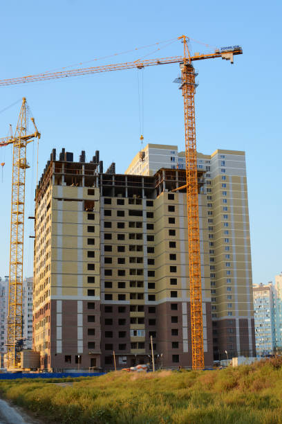The construction of the apartment building stock photo