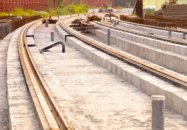 The construction site of new light rail rapid transportation system stock photo