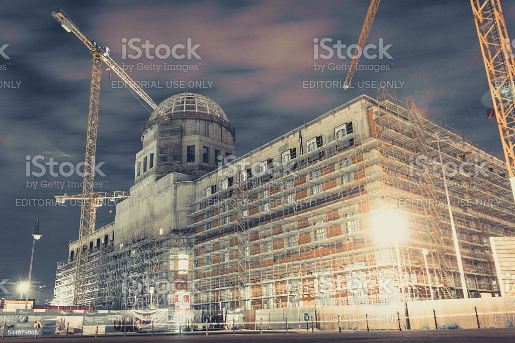 The construction site of the Berlin City Castle stock photo