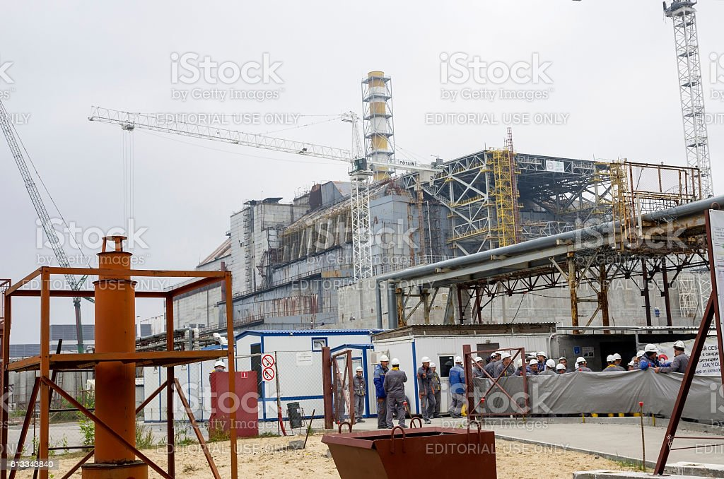 The construction site of the new reactor shelter in Chernobyl stock photo