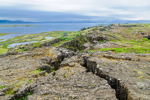 The continental drift in Thingvellir stock photo