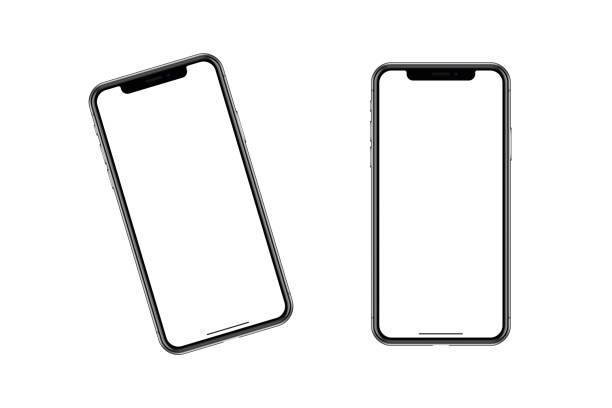 il modello di contorno di uno smartphone alla moda. - smart phone foto e immagini stock
