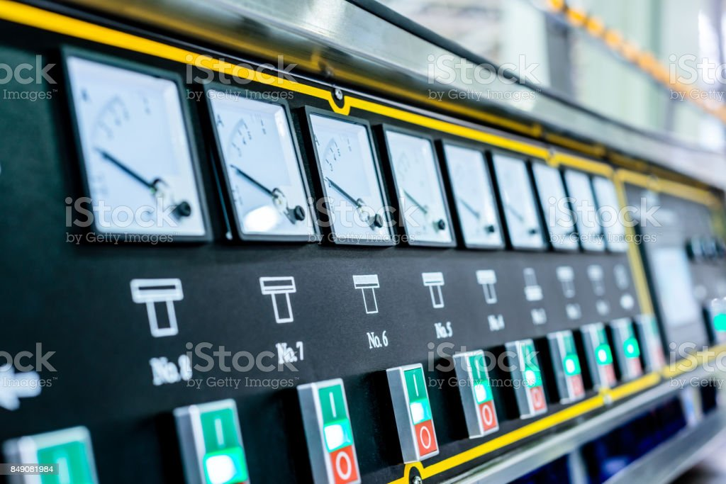The control panel of the machine tool stock photo