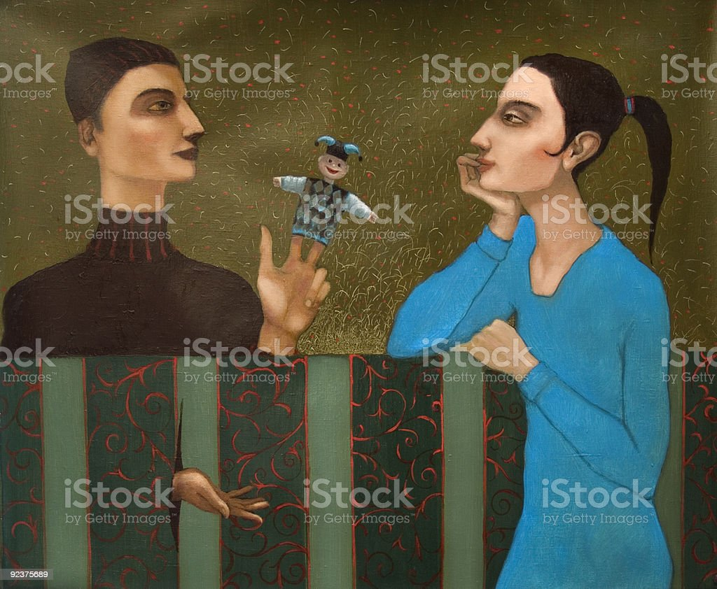 The conversation men and women royalty-free stock photo