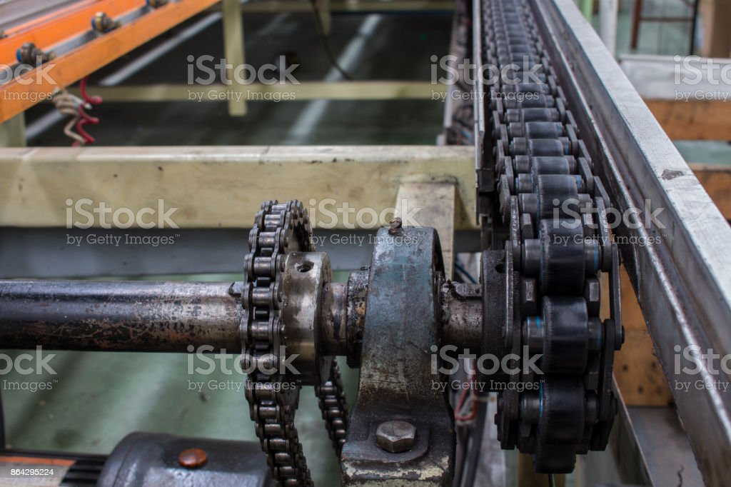 The conveyor belt and conveyor chain in production line. royalty-free stock photo